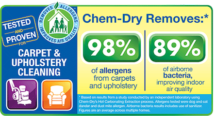 Chem-Dry removes dust, dirt, and 98% of allergens from carpets and upholstery